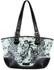 Isabella Fiore Black-Blue Printed Leather Tote Shoulder Bag, Medium $ 795.00