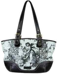 Isabella Fiore Black-Blue Printed Leather Tote Shoulder Bag, Medium $ 795.00
