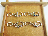 10 x Love/Hope Infinity Charms or Connectors Antique Silver Tone