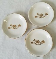 Three Porcelain China Creamy White Butter Pat Dishes with Gold Shamrock Design