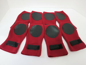 Red Fleece with Black Leather Pads Large Dog Booties- Set of 4