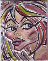 modern art original LOOK AWAY MARIE 8x10 oil painting panel signed CROWELL US