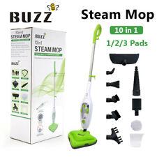 1500W Hot Steam Mop Cleaner 10 in 1 Floor with 1/2/3 Heads Carpet Window Steamer