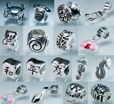 Craft E, Unique Sterling Silver Charms Beads With Colorful Crystals for Bracelet