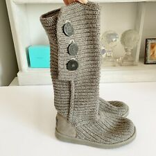 Grey Knitted UGG Boots With Side Buttons, Sz US 6