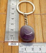 Très beau porte-clés en AMETHYSTE naturelle pierre roulée lithotherapie reiki