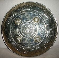 Antique White Metal Hand Carved Silver Coated Scutum,Glacis Shield War Facecover