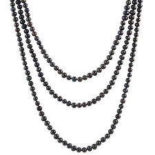 """Endless 80"""" Black Pearl Necklace FGE-297B"""