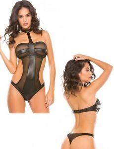 Body aperto Intimo donna sexy nero lingerie pizzo rete trasparente perizoma hot