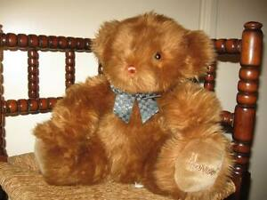 Harrods UK Large Fluffy Bear Checkered Bow  VERY RARE