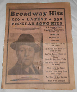 1937 Broadway Hits Latest Popular Song Weekly Publication 221 Vintage 550