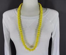 "yellow wood big bead long 30"" necklace beaded wooden lightweight"
