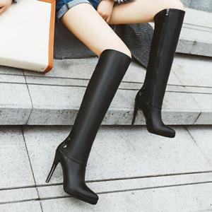 Womens Boot Stilettos Knee High Heels Zipper Casual Nightclub Black Chic Fashion