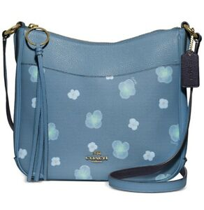 Coach Chaise 89470 Pansy Polished Flowers Leather Crossbody Messenger Bag