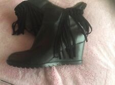 Ladies black leather wedge heel Ankle Boots size uk 6 from carmela