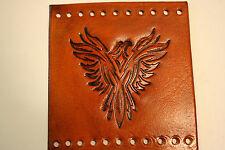 Custom Heavy Duty Light Brn Leather Motorcycle Grip Covers Tribal Eagle Pheonix