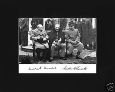 Franklin Delano Roosevelt FDR Churchill Autograph WWII Black Large Matted Photo