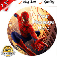 """SPIDERMAN PERSONALISED QUALITY EDIBLE ICING Cake Topper 7.5"""" Round Decoration"""