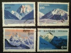 India 1988 Mountain Peaks Himalayas K-2 Kanchenjunga Stamp set 4v Used