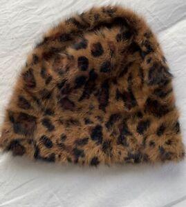BNWOT Animal Print Angora Mix Womens Beanie 1