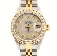 Rolex Oyster Perpetual Datejust Aço 18k & 26mm Branco Esfregão discar Diamond Watch