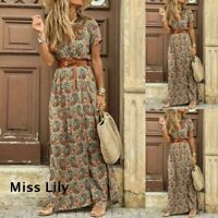 Womens Summer V-neck Boho Belted Long Maxi Dress Ladies Beach Holiday Sundress