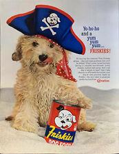 Vintage 1960 Friskies Wet Cute Dog Food Dog In Pirate Hat Print Ad Advertisement
