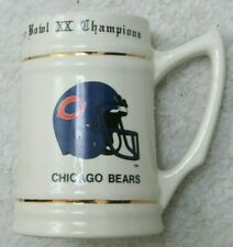 Chicago Bears Mug Vintage 1985 SuperBowl 20 XX Champions NFC Stein Cup Gold Trim