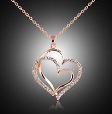 Collar dorado y colgante corazones amor unidos con cristales regalo mujeres
