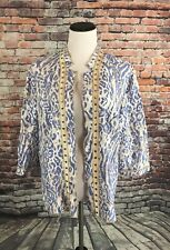 CHICOS Size 3 Women's Lightweight Cardigan Jacket Blue Animal Print with Trim