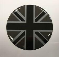 2 X Union Jack Drapeau Autocollants En Forme De Dôme Finition Noir /& 2 tone Gris Diamètre 65 mm