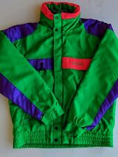 Vintage Nevica Survival Ski Jacket Joker Purple  Neon Color Block Hooded Size 40