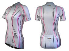 Funkier Pro Womens Short Sleeve Cycling Jersey White J-395 Breathable Quick Dry