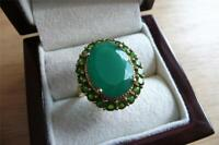 LARGE OVAL GREEN ONYX  CHROME DIOPSIDE 925 SILVER YELLOW GOLD RING SZ T US 10