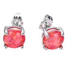 Solid Silver Stud Earrings 8 Mm Xmas Holiday Garnet Red Fire Opal Gemstone
