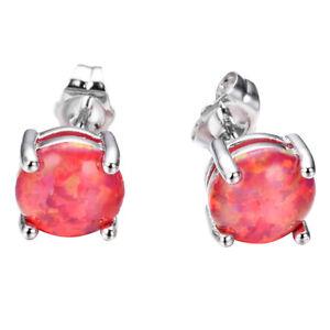 Xmas Holiday Garnet Red Fire Opal Gemstone Solid Silver Stud Earrings 6 MM