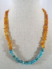 "Sterling Silver Amber and Turquoise Nugget Single Strand Necklace 16""-18"" Long"
