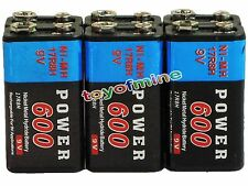 6x Durable 9V 9 Volt 600mAh Power Black Ni-Mh Rechargeable Battery PPS block