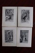 ✒ 1878 Théophile GAUTIER Lot de 4 gravures par Giraud - Mademoiselle de MAUPIN