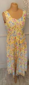 Vintage Laura Ashley Dress UK 10/12 Midi Yellow Floral Summer Sun Dress BNWT