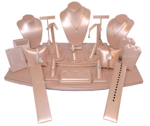 Pink Jewelry Display Stands Holder Bracelet Earring Necklace Ring Faux Leather