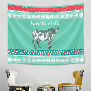 Abstract Daisy Flowers Cow Heifer Tapestry Wall Hanging Living Room Bedroom Dorm