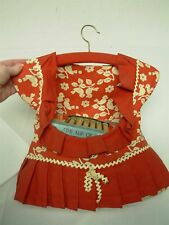 """VTG 1940s RED COTTON CUTE DRESS CLOTHES LINE CLOTHES PIN HANGING BAG """"BURSTING"""""""