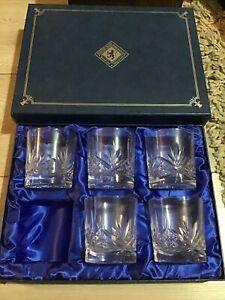 Edinburgh International Crystal Whisky Tumblers, Glasses x5 Boxed Unused