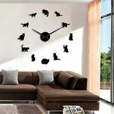 Antique Style Wall Clocks With Mirror Effects Large Needles Cat Shaped Clock New