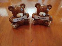 Michigan Script Teddy Bear Salt And Pepper Shakers Made In Taiwan