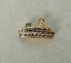 Awesome Vintage 18K Yellow Gold Cruise Liner Ship Charm with a Genuine Emerald