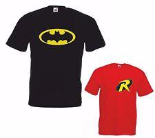 BATMAN & ROBIN Men Boys Gildan T Shirts fathers day present Dad & son Xmas gift