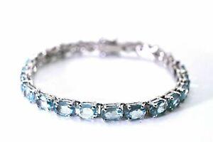 Bracelet Blue Sky Topaz Genuine Natural Gems Solid Sterling Silver 7 Inch