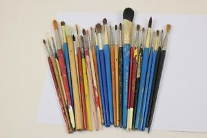 Job Lot Bundle of 25+ x Artist's used paint brushes (Watercolour)   #W30-3